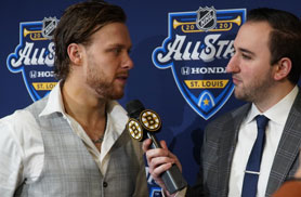 Eric Russo interviews David Pastrnak of the Boston Bruins
