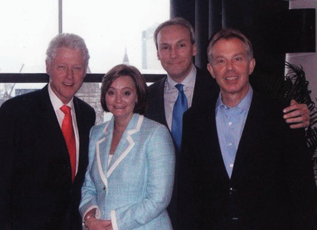 Timothy Phillips with Bill Clinton, Former Prime Minister Tony Blair and his wife Cherie