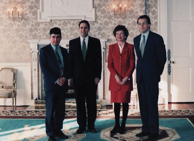 With Paul Arthur, Eric Nonacs, Mary Robinson, then Ireland's president, in Northern Ireland in the 1990s