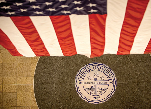 American flag and Suffolk seal